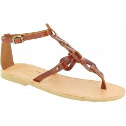 Sandalias de mujer hechas a mano con cordones cruzados en piel de becerro marrón