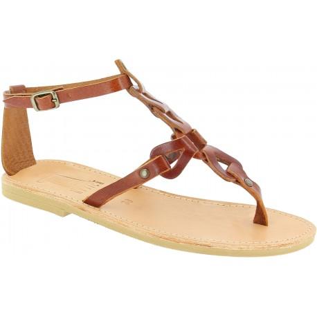 Sandali infradito da donna con lacci incrociati fatti a mano in pelle di vitello marrone