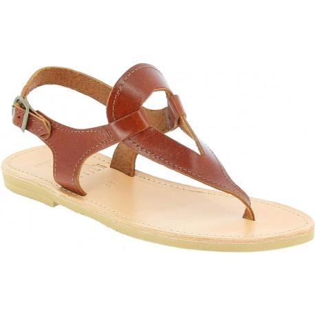 Women's handmade drop-shaped thong sandals in brown calfskin