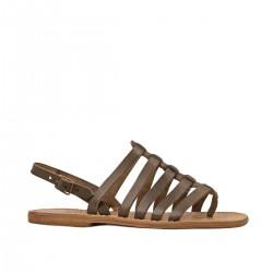 Sandali infradito artigianali in pelle vintage color fango