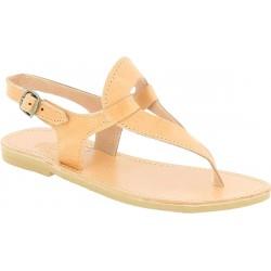 Women's handmade drop-shaped thong sandals in nude calfskin