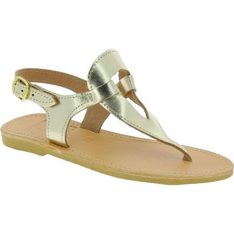 Sandalias para mujer en forma de gota hechas a mano en piel de becerro laminada dorada