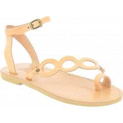 Women's thong sandals with circles handmade in nude color calfskin