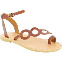 Women's thong sandals with circles handmade in brown color calfskin