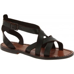 Handmade leather sandals in brown leather for ladie