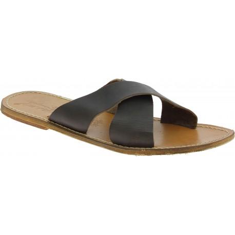 Zapatillas para hombre de cuero color barro con efecto usado