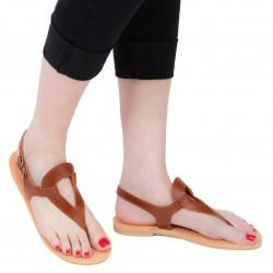 Sandali infradito a goccia da donna fatti a mano in pelle di vitello marrone
