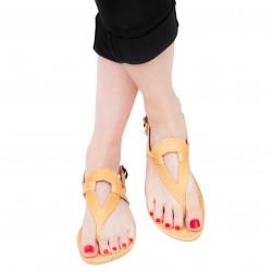 Sandali infradito a goccia da donna fatti a mano in pelle di vitello colore nude