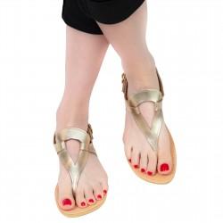 Women's handmade drop-shaped thong sandals in gold laminated calfskin