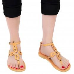 Sandali infradito da donna con lacci incrociati fatti a mano in pelle di vitello nude