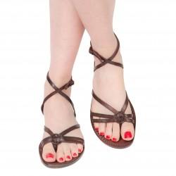 Sandali donna realizzati a mano in pelle color testa di moro