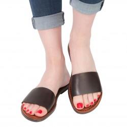 Nu pieds pour femme en cuir marron foncé travaillé main