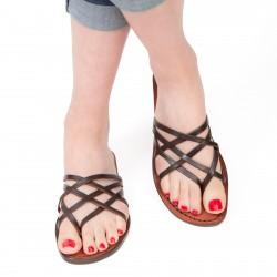 Hand gefertigte Damen-Sandalen mit braunem Lederriemengeflecht um den großen Zeh und Ledersohle