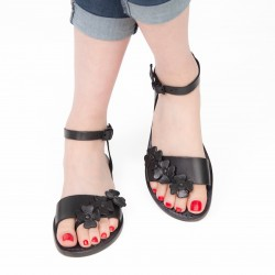 Handmade women's black flat sandals real italian leather