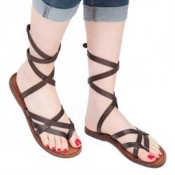 Sandalias tiras marron oscuro de cuero para mujeres hechas a mano en Italia