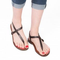 Handgefertigte italienische Sandalen damen aus dunkelbraunem Leder