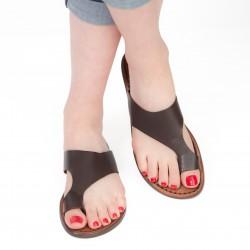 Sandale tong en cuir marron pour femme artisanales