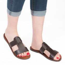 Women's leather slide sandals in dark brown leather handmade