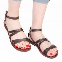 Sandalias planas de cuero marrón para mujeres hecho a mano