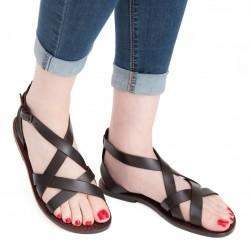 Sandale en cuir artisanale tête de maure pour femme