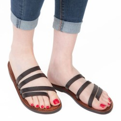 Handgefertigte Damen Flip Flops aus dunkelbraunem Leder