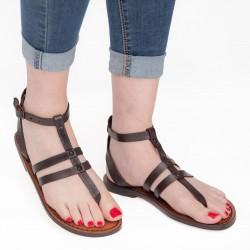 Sandalias tira en cuero marrón oscuro hecha a mano en Italia