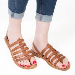 Sandali infradito alla schiava in pelle color cuoio