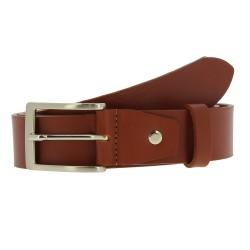 Cinturón de piel de curtido vegetal con hebilla de metal clásica