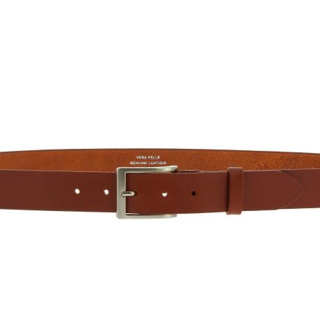 Pflanzlich gegerbter Ledergürtel mit klassischer Metallschnalle