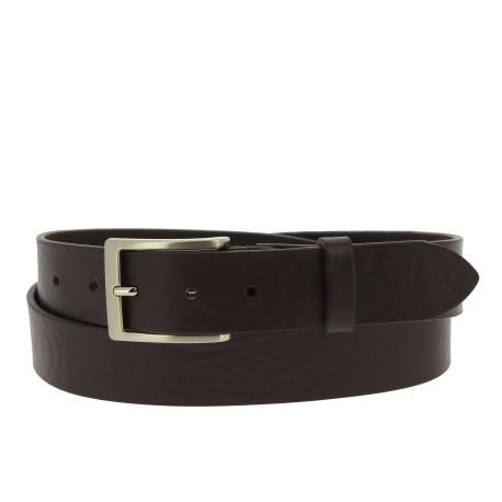 Cintura in pelle marrone scuro conciata al vegetale con fibbia in metallo