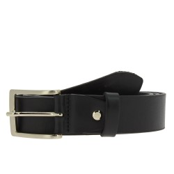Black vegetable tanned leather belt with metal buckle