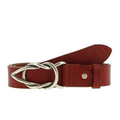 Cinturón de piel de curtido vegetal con hebilla casual de metal