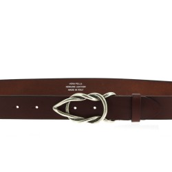 Dark brown bull leather belt with casual metal buckle