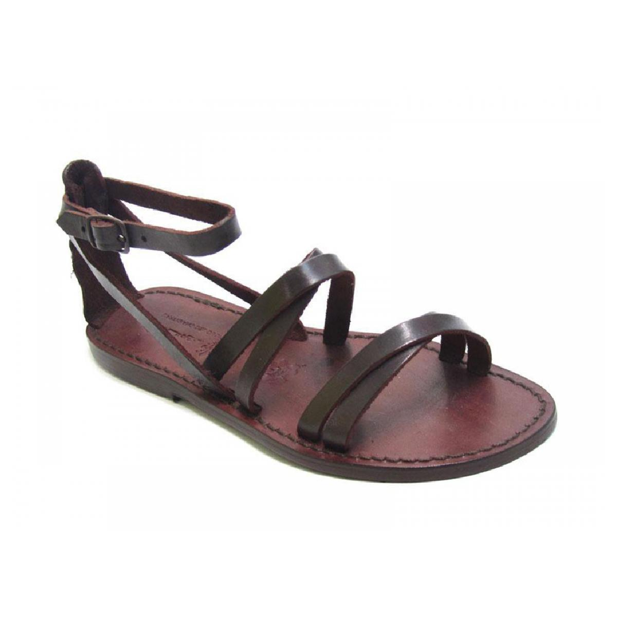 handmade s flat sandals brown leather