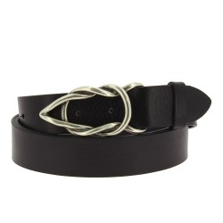 Black bull leather belt with casual metal buckle