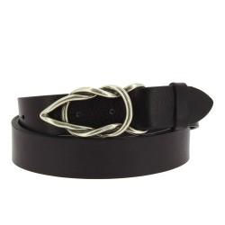 Cintura in pelle di toro nera con fibbia casual in metallo