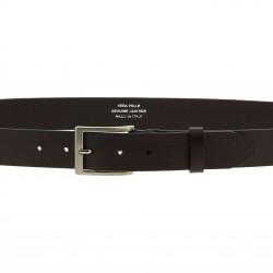 Cinturón de piel marrón oscuro de curtido vegetal con hebilla de metal