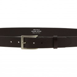 Vegetable tanned dark brown leather belt with metal buckle