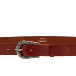 Brown leather belt with metal scaled buckle