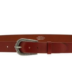 Cintura in pelle marrone con fibbia squamata in metallo