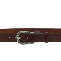 Dark brown leather belt with metal scaled buckle