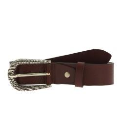 Cintura in pelle marrone scuro con fibbia squamata in metallo