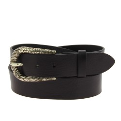 Black leather belt with metal scaled buckle