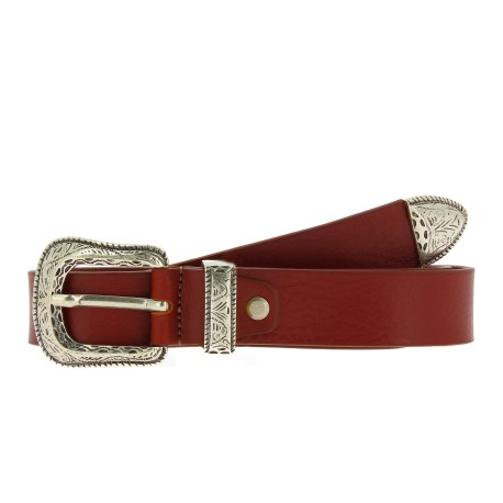Brown leather belt with engraved metal buckle and tip