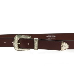 Dark brown leather belt with engraved metal buckle and tip