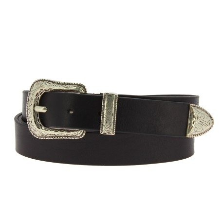 Black leather belt with engraved metal buckle and tip