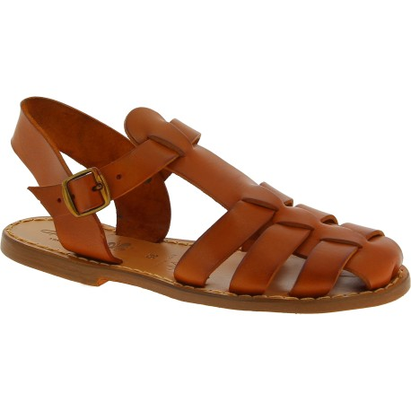 Tan flat sandals for women real leather Handmade in Italy