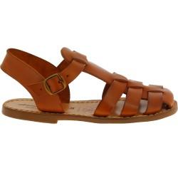 Sandali bassi in pelle color cuoio fatti a mano in Italia