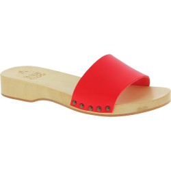 Handmade wooden clog slippers for men with red leather band