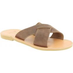 Men's slipper sandals with crossed bands in dark brown nubuck leather